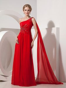 Graceful One Shoulder Beaded Ruched Pageant Graduation Dresses with Watteau Train