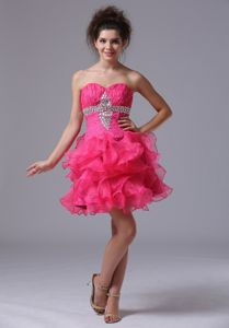 Sweetheart Ruched Beaded Short Hot Pink Pageant Graduation Dresses with Ruffles