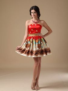 Sweet Strapless Muti-color Strapless Printed Mini-length Grad Dresses in Caloundra