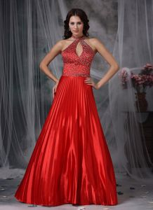 Graceful High Neck Pleated Beaded Floor-length Evening Dresses for Graduation in Red