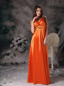 Gorgeous Orange Halter Beaded And Ruched formal Graduation Dresses in Hervey Bay
