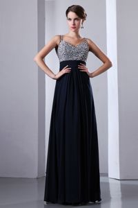 Navy Blue Straps Beaded Floor-length Graduation Ceremony Dresses in Gold Coast