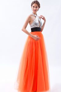 Halter Orange Floor-length Sequined Pageant Graduation Dresses in Queanbeyan