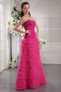 Fuchsia Floor-Length Strapless Ruched Graduation Dress with Ruffles in Tarbert