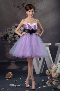Lavender Mini-Length Sweetheart Graduation Dress with Black Belt and Flower
