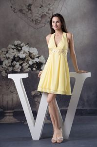 Halter Mini-Length Light Yellow Graduation Dress with Appliques in Crieff