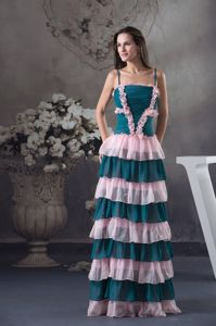 Floor-Length Spaghetti Straps Layered Flounced Graduation Dress with Ruching