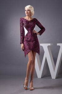 Burgundy Short-Length V-Length Graduation Dress with Long Sleeves in Edzell