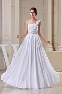 One-Shoulder Floor-Length Princess Graduation Dress with Ruching and Appliques