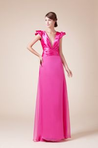 Column Fuchsia V-Neck Graduation Dress with Ruching and Cap Sleeves
