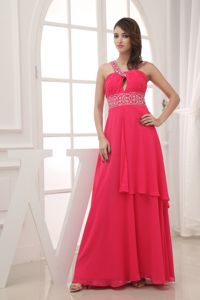 Floor-Length Column Hot Pink Graduation Dress with Appliques and Jeweled Straps