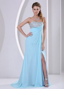 Ruching Aqua Blue Beadings Senior Graduation Dress with High Slit