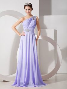 Brush Train Lilac Chiffon One Shoulder Graduation Gown with Beads