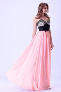 Sweetheart Pink and Black Hand Made Flower Beaded Graduation Gown