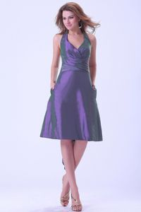 Purple Knee-length Halter Taffeta 2013 Graduation Dress For Girls