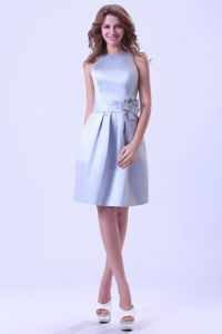 Knee-length Bateau Silver Graduation Dress With Hand Made Flower