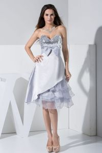 Sequined Tea-length Ruffled Grey Graduation Dresses with Bowknot