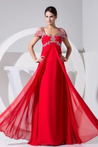 Chiffon Red Straps Senior Graduation Dress Beaded in Lostwithiel