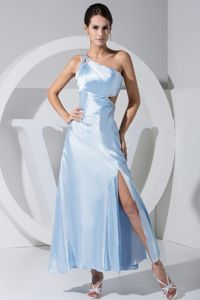 High Slit Ankle-length Beading One Shoulder Graduation Dress 2013