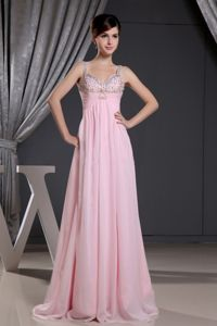 Beaded Straps Baby Pink Sweetheart Graduation Dresses in Liskeard
