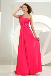 One Shoulder Empire Chiffon Hot Pink Graduation Dresses for Cheap