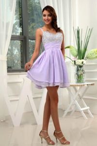 Mini-length Beading Chiffon Straps Lilac Graduation Gown for 2013