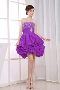 Bead Purple A-Line Graduation Dress For High School with Pick-ups