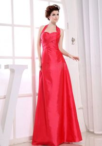 Halter Red Taffeta A-Line Junior Graduation Dresses in Whittlesey