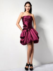 Mini-length Burgundy Hand Made Flower Graduation Dress in Milton