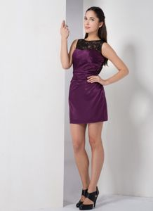 Dark Purple Mini-length Taffeta Bateau Graduation Dress in Linton