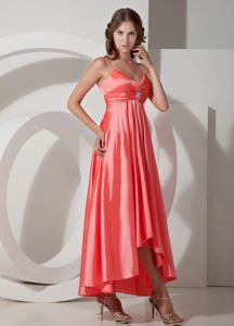 Watermelon Red Beaded Prom Graduation Dress with Spaghetti Straps