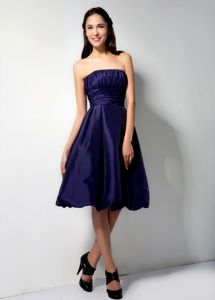 Taffeta Purple A-Line Knee-length Ruched Graduation Dress on Sale