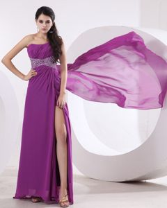 One Shoulder Fuchsia Prom Graduation Dress Beaded with High Slit