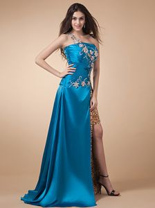 High Silt Appliques Leopard Blue Graduation Dresses in Sandhurst
