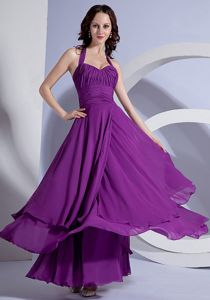 Ankle-length Halter Chiffon Junior Graduation Dresses in Purple