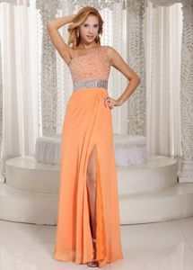 High Slit One Shoulder Orange Beaded Graduation Dress for Cheap