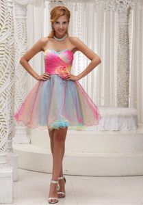 Ombre Color Ruched Hand Made Flower Organza Las Cruces Graduation Dress