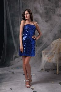 Sequin Peacock Blue Beaded Graduation Dress in Research Triangle Park