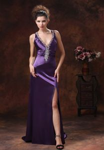 High Slit V-neck Beaded Purple Graduation Dresses in Grand Forks ND