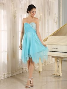 Beaded Aqua Blue Ruching Short Graduation Dresses 2014 in Mansfield