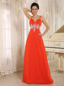 Spaghetti Straps Appliques Red Graduation Dresses in Youngstown OH