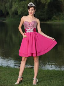 Ruched Belt Beaded Hot Pink Graduation Dresses in Westerville OH