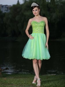 Beaded Green New Oklahoma Cocktail Dress for Graduations in Stillwater
