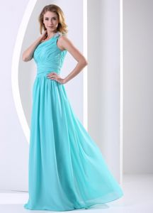 One Shoulder Ruched Aqua Blue New Graduation Dress in Beaverton OR