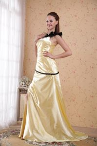 Feather One Shoulder Light Yellow Ruched Pennsylvania Graduation Dress