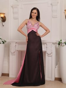 Pink and Black Beaded Straps Brush Train Graduation Dress in Lancaster