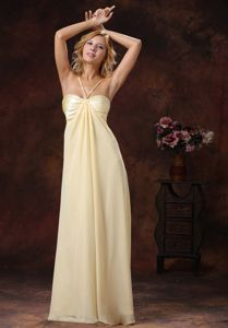 Light Yellow Straps Ruched Ruched Discount Graduation Dress in Beaumont