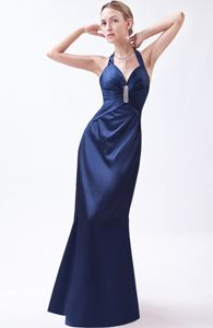 Halter Beading Taffeta Navy Blue Graduation Dresses in Charleston
