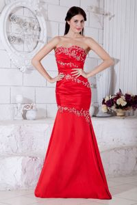 Mermaid Red Appliques Ruched Taffeta Graduation Dresses in Nashville