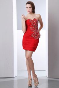 Ruched Appliques Beading Red College Station Lovely Graduation Dress